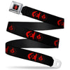 Harley Quinn Diamond Full Color Black Red Seatbelt Belt - Bat Logo/Harley Quinn Diamonds Black/Red Webbing