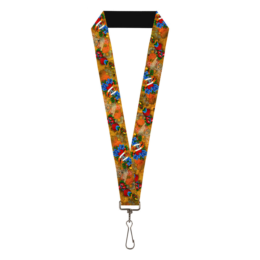 "Lanyard - 1.0"" - Tattoo Johnny-Hearts & Roses"
