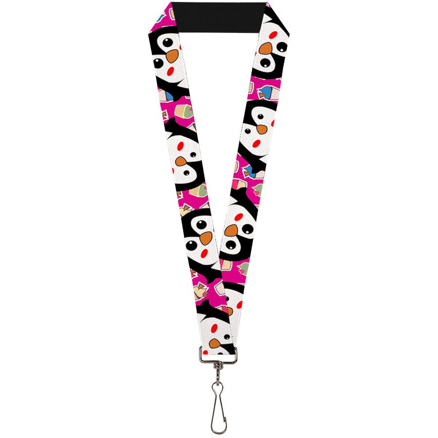 "Lanyard - 1.0"" - Penguins w Cupcakes Fuchsia Multi Color"