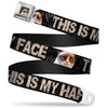 Grumpy Cat Face Full Color Black Seatbelt Belt - Grumpy Cat THIS IS MY HAPPY FACE Black/Tan Webbing
