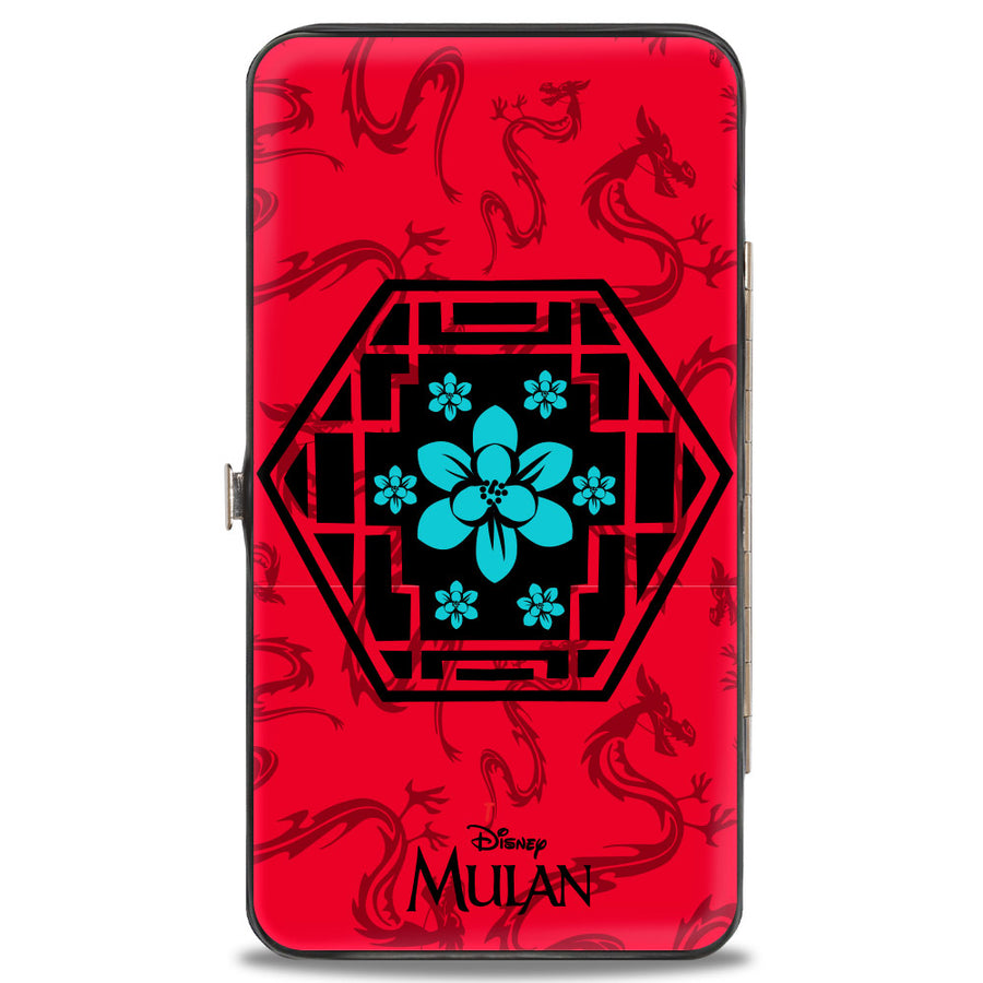 Hinged Wallet - Mulan Flower Lattice Mushu Icons Scattered Reds Black Blue