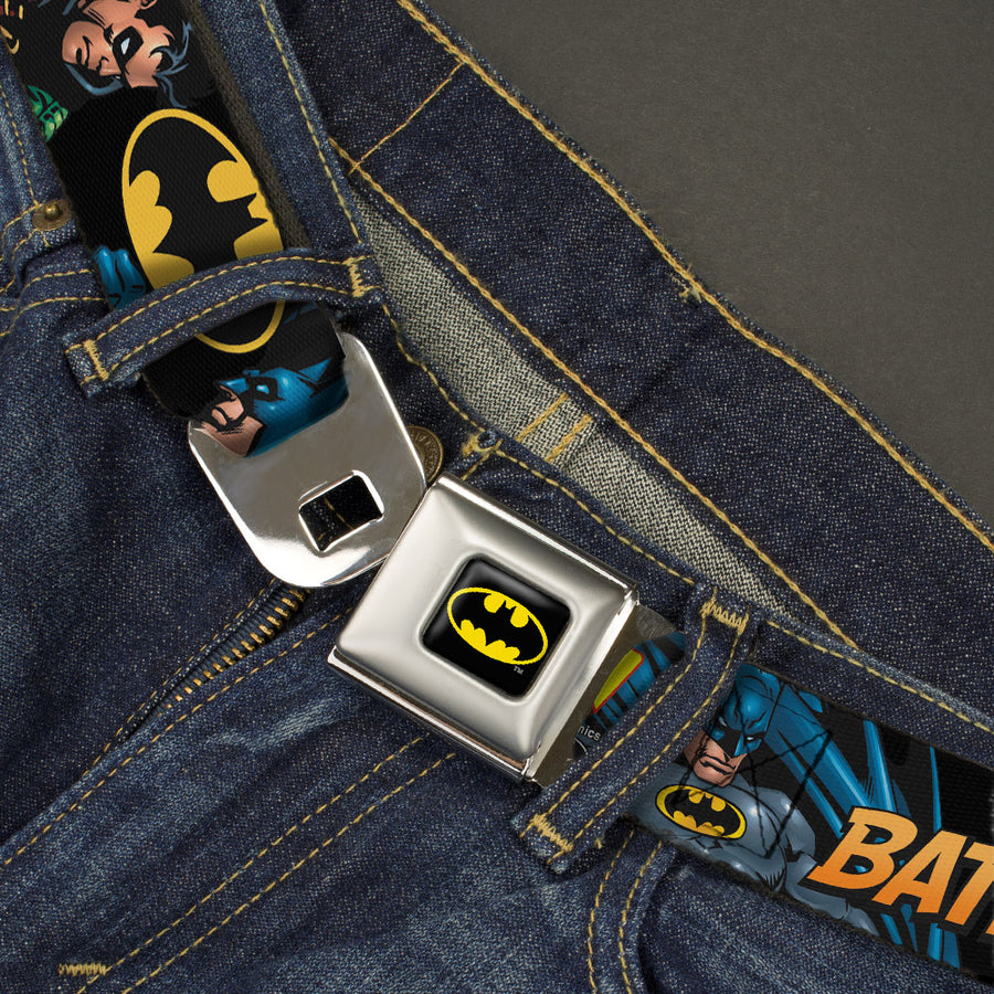 Batman Full Color Black Yellow Seatbelt Belt - Batman & Robin in Action w/Text Black Webbing