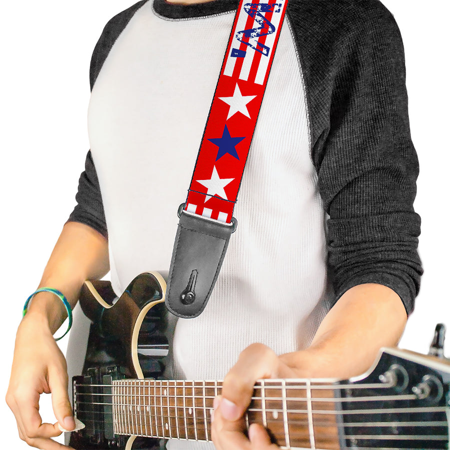 Guitar Strap - MERICA Stripes Stars Red White Blue