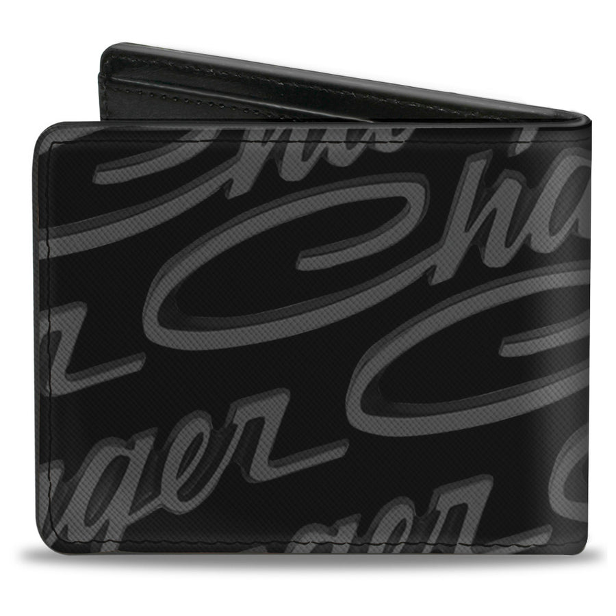 Bi-Fold Wallet - CHARGER Script Emblem Repeat Corner Black Grays White