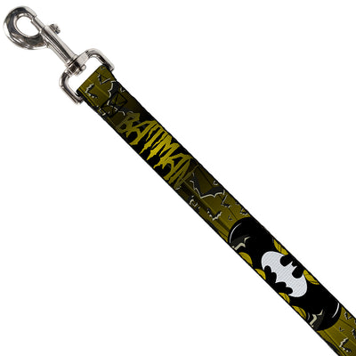 Dog Leash - BATMAN w/Bat Signals & Flying Bats Yellow/Black/White