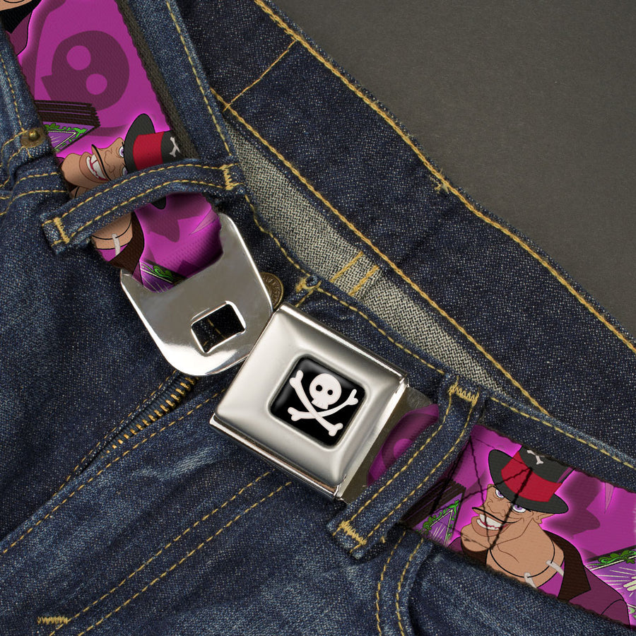 Dr Facilier's Skull & Crossbones Full Color Black Grays Seatbelt Belt - Dr. Facilier Tarot Card 2-Poses/Shadow Man/Skull & Crossbones Purples Webbing