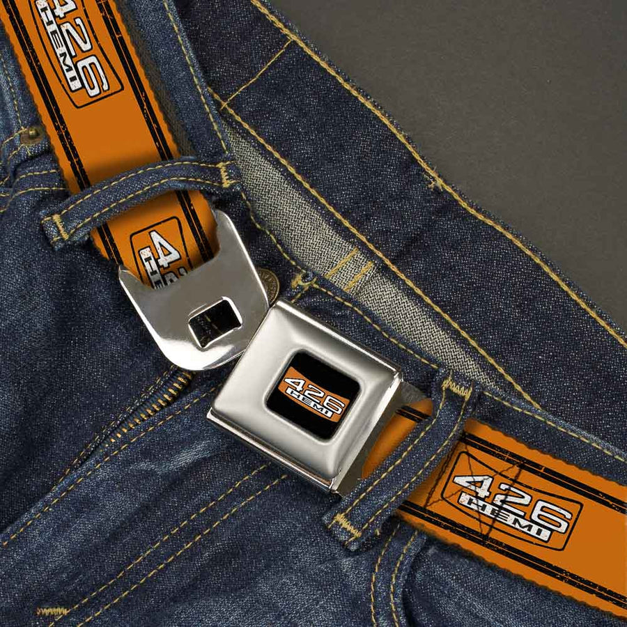 426 HEMI Badge Full Color Black White Orange Seatbelt Belt - 426 HEMI Badge/Stripes Weathered Orange/Black/White Webbing