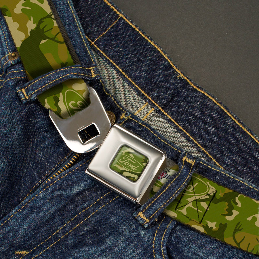 FORD Oval Full Color Deer Hunter Camo Olive Seatbelt Belt - FORD Deer Hunter Camo Olive Webbing