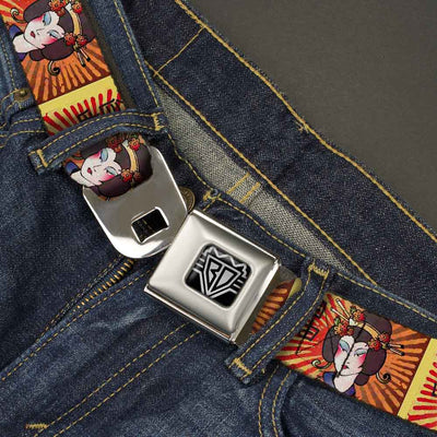 BD Wings Logo CLOSE-UP Full Color Black Silver Seatbelt Belt - Geisha Distressed Repeat Webbing