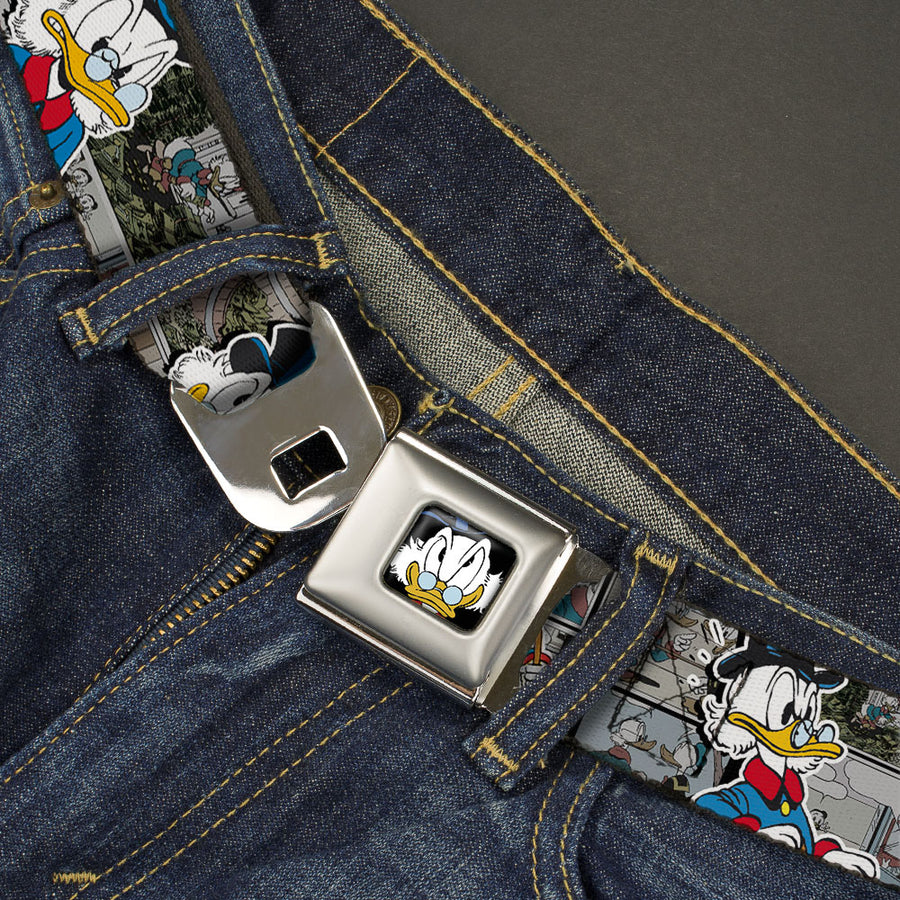 Scrooge McDuck Face CLOSE-UP Full Color Black Seatbelt Belt - Scrooge McDuck Poses/Comic Strip Scenes Webbing