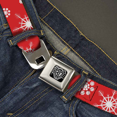 BD Wings Logo CLOSE-UP Full Color Black Silver Seatbelt Belt - Snowflakes Red/White Webbing