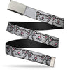 Chrome Buckle Web Belt - Soft Kitty Face CLOSE-UP Gray Webbing