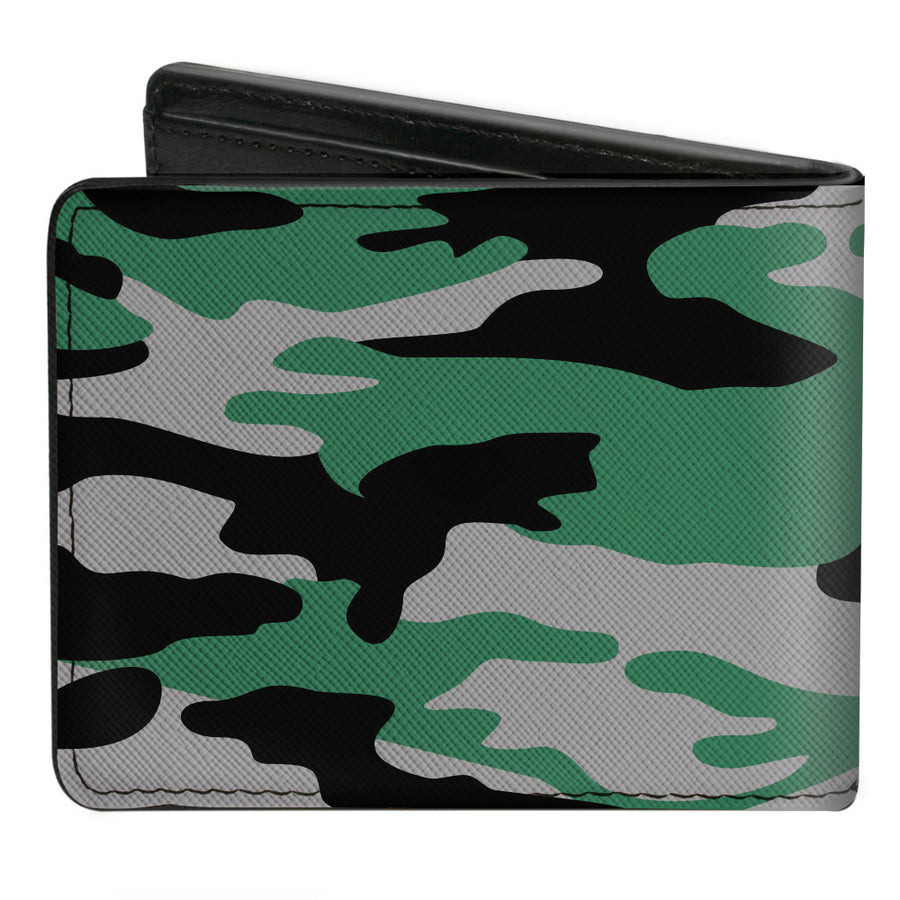 Bi-Fold Wallet - Harry Potter Slytherin Crest Camo Green Gray Black