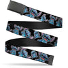 Black Buckle Web Belt - Stitch Poses/Hibiscus Sketch Black/Gray/Blue Webbing