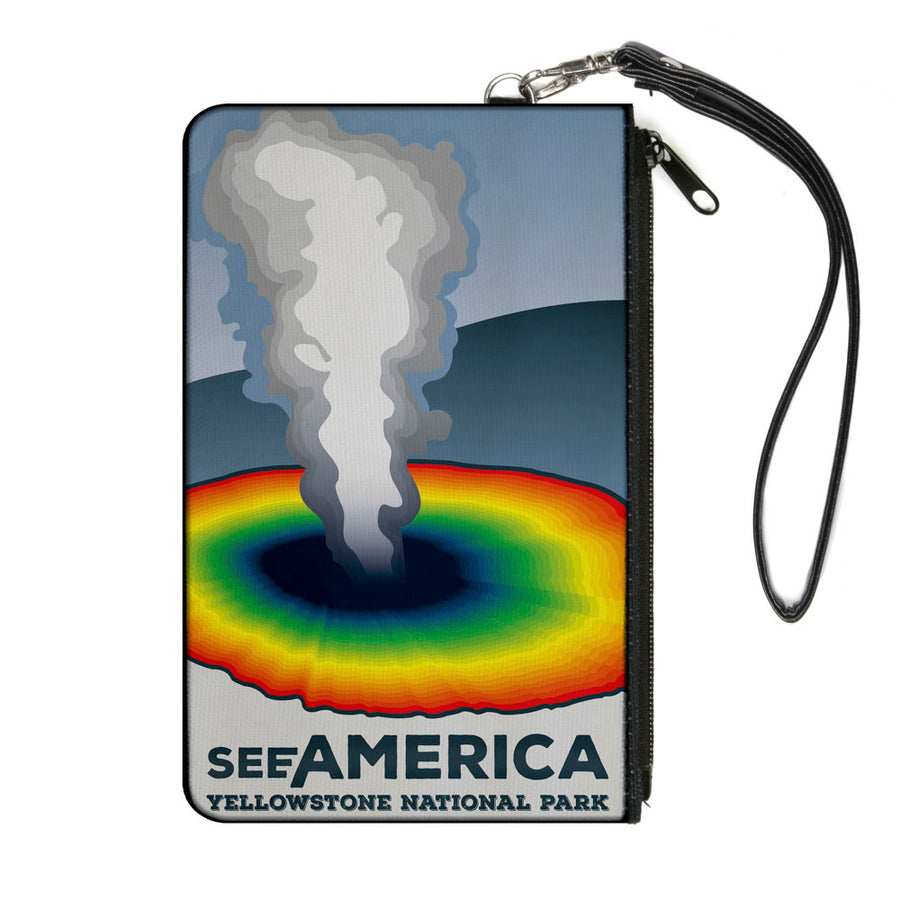 Canvas Zipper Wallet - LARGE - SEE AMERICA-YELLOWSTONE Geyser Grays Multi Color
