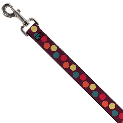 Dog Leash - Big Dots Purple/Multi Pastel
