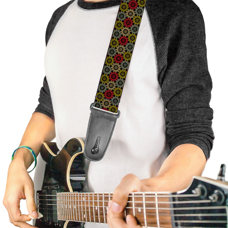 Guitar Strap - Aboriginal Black Cream Multi Color