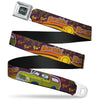 Ford Emblem Seatbelt Belt - Vintage Ford Bronco-BUCKIN' BRONCO Wine/Red/Orange/Green Webbing