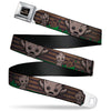 MARVEL UNIVERSE I AM GROOT!! Full Color Black Brown Seatbelt Belt - Kawaii Groot 2-Poses/Guardians Badge Browns/Green Webbing
