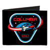 Canvas Bi-Fold Wallet - COLUMBIA STS-1 Space Shuttle Black White Blues Red