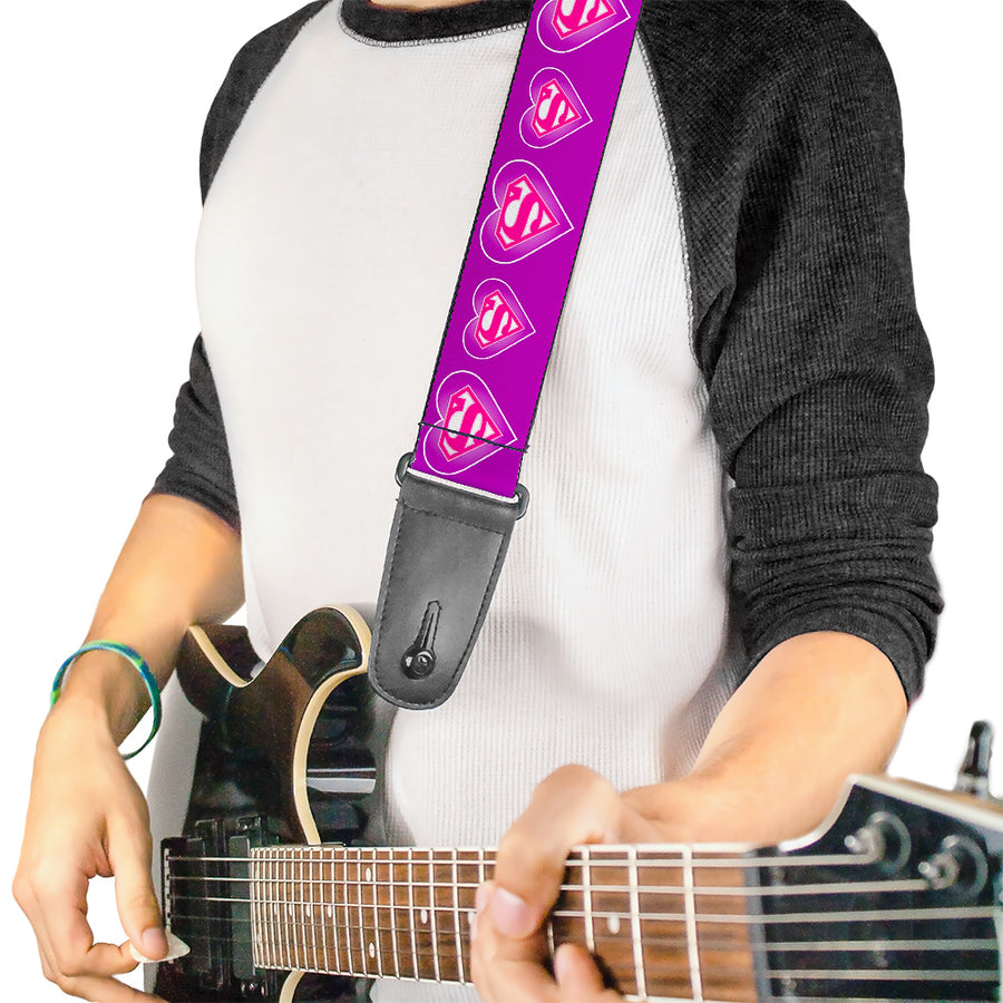 Guitar Strap - Superman Logo in Heart Purple White Pink