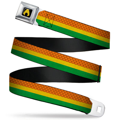 Aquaman Logo Full Color Black Yellow Seatbelt Belt - Aquaman Rasta Webbing