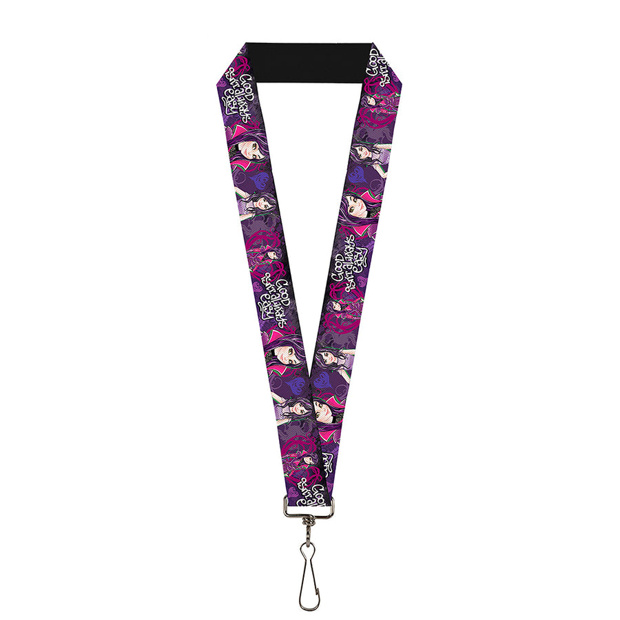 "Lanyard - 1.0"" - Descendants Mal 3-Poses GOOD ISN'T ALWAYS Hearts Dragons EASY Purples Pinks"