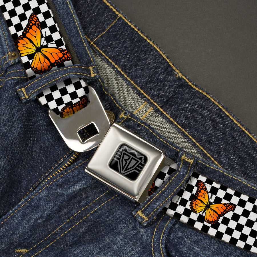 BD Wings Logo CLOSE-UP Black/Silver Seatbelt Belt - Monarch Butterfly Scattered Checker Black/White Webbing