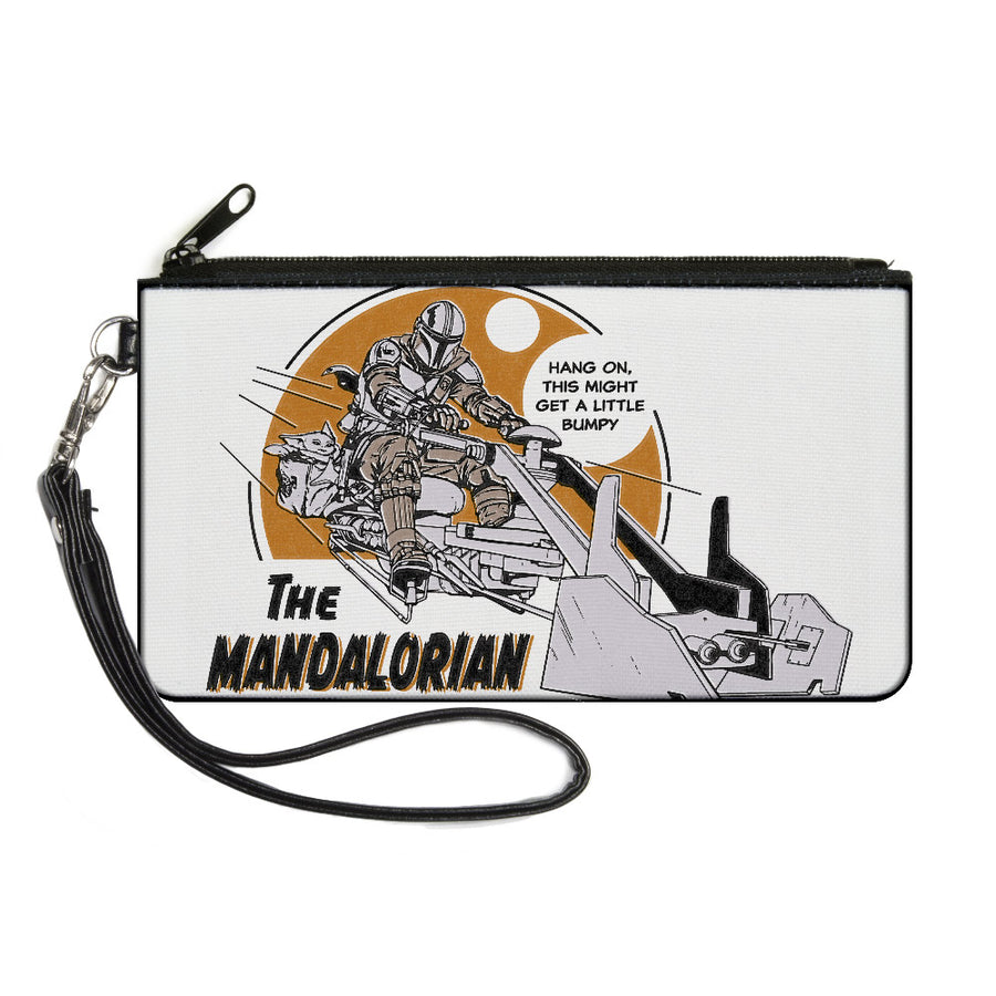 Canvas Zipper Wallet - SMALL - Star Wars THE MANDALORIAN Riding Speeder Bike with The Child HANG ON Quote White Grays Browns