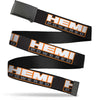 Black Buckle Web Belt - HEMI POWERED Logo Repeat Black/Orange/White/Gray Webbing