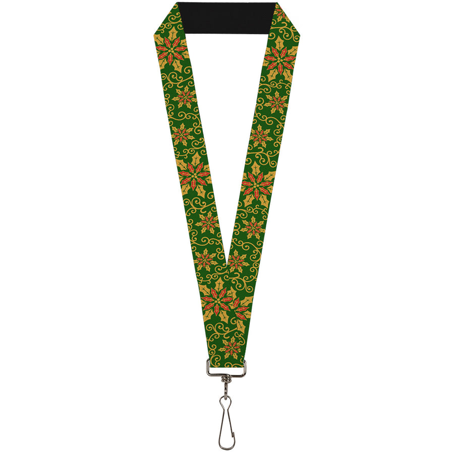 "Lanyard - 1.0"" - Holiday Holly Green Gold Red"