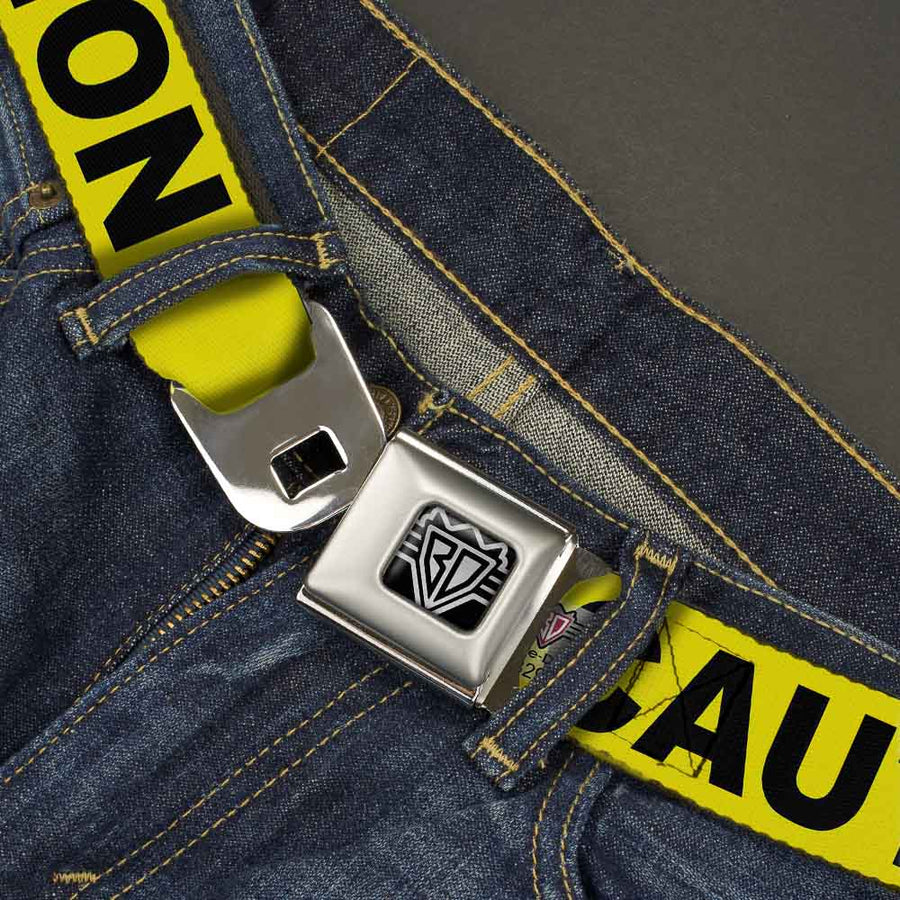 BD Wings Logo CLOSE-UP Full Color Black Silver Seatbelt Belt - CAUTION Yellow/Black Webbing