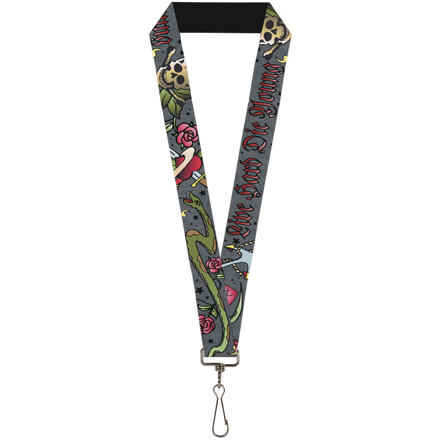 "Lanyard - 1.0"" - Live Hard Die Young Gray"
