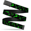 Black Buckle Web Belt - Question Mark Scattere2 Black/Neon Green Webbing