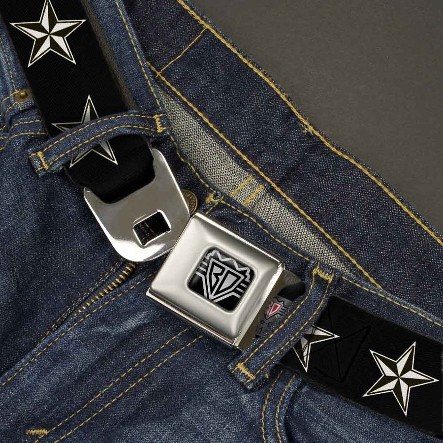 BD Wings Logo CLOSE-UP Full Color Black Silver Seatbelt Belt - Nautical Star Black/White Webbing