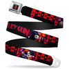 Harley Quinn Diamond Full Color Black Red Seatbelt Belt - HARLEY QUINN Bomb Poses/Suits Black/Purple/Red Webbing