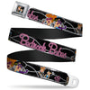 Wilma & Betty Full Color Black Seatbelt Belt - Wilma & Betty Glam Poses BEDROCK BABES Black/Pink Webbing