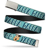 Chrome Buckle Web Belt - Fred Face YABBA DABBA DOO Blues Webbing