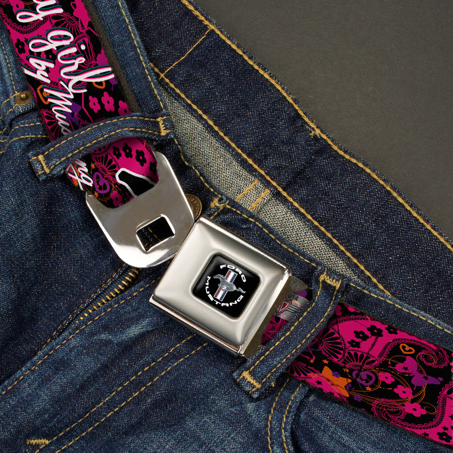 FORD MUSTANG Tri-Bar Logo Full Color Black White Silver Red Blue Seatbelt Belt - Mustang PONY GIRL/Floral Collage Black/Pinks/White Webbing