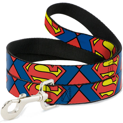 Dog Leash - Superman Shield CLOSE-UP Blue/Red/Yellow