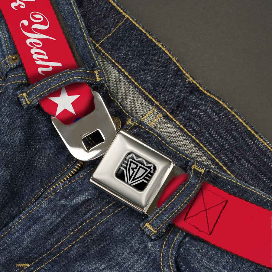 BD Wings Logo CLOSE-UP Full Color Black Silver Seatbelt Belt - 'MERICA FUCK YEAH!/Star Red/Blue/White Webbing