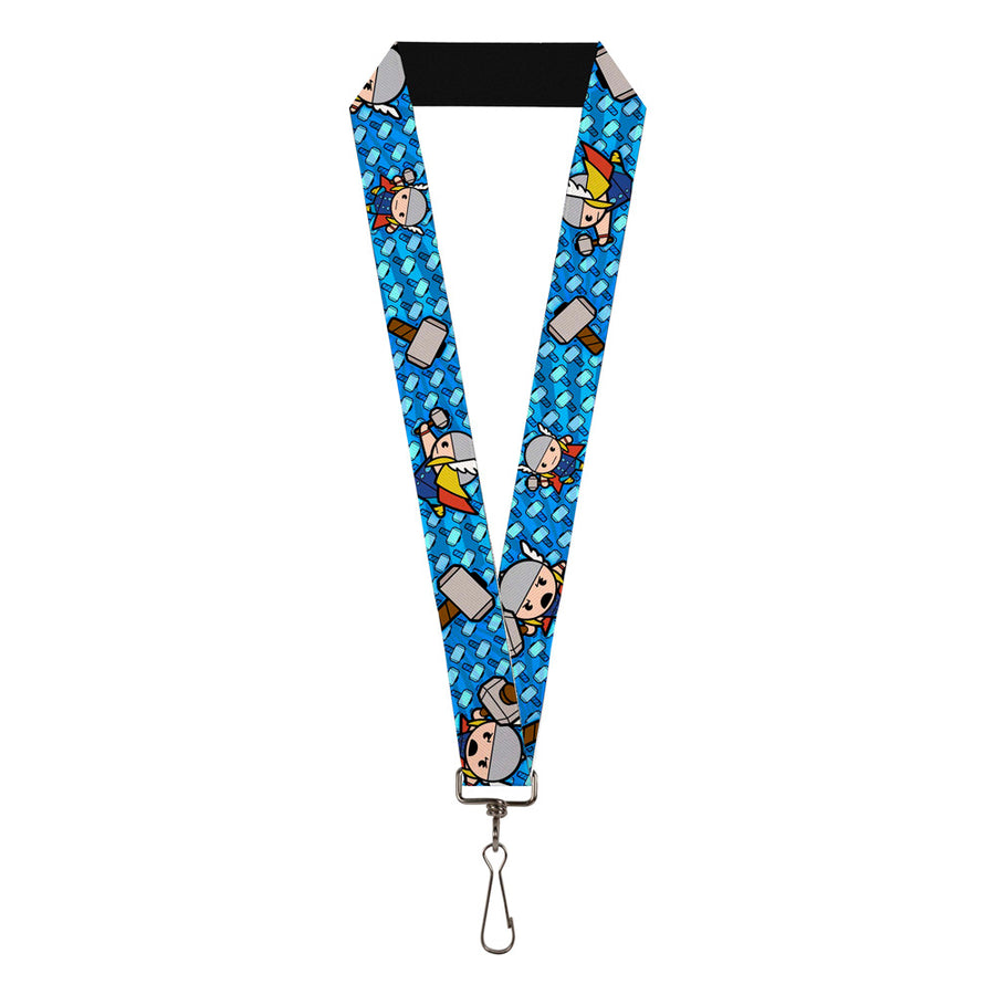 "MARVEL UNIVERSE Lanyard - 1.0"" - Kawaii Thor Poses Hammer Monogram Blues"