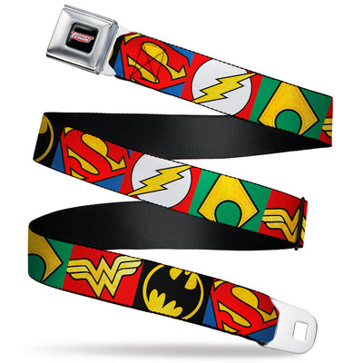 JUSTICE LEAGUE Shield Full Color Black/White/Red Seatbelt Belt - Justice League 5-Superhero Textured Logo CLOSE-UP Blocks Webbing
