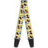 Guitar Strap - Minnie Mouse w Hat Poses Stripe Yellow White