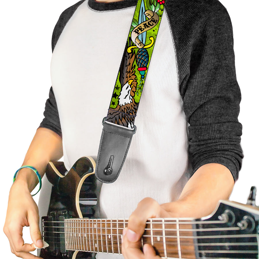 Guitar Strap - Truth and Justice Green