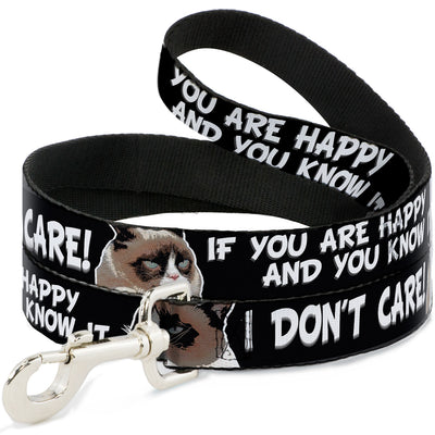 Dog Leash - Grumpy Cat IF YOU ARE HAPPY AND YOU KNOW IT-I DON'T CARE!