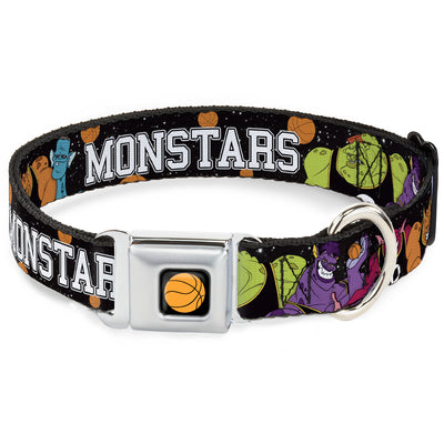 Looney Tunes Basketball Full Color Black Seatbelt Buckle Collar - Space Jam MONSTARS 5-Player Group Pose/Basketballs Galaxy Black/White