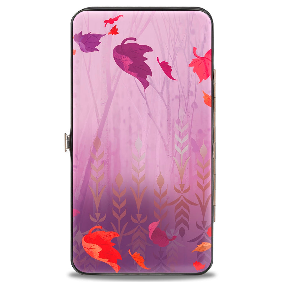 Hinged Wallet - Frozen II Anna Pose Swirling Leaves Purples Reds