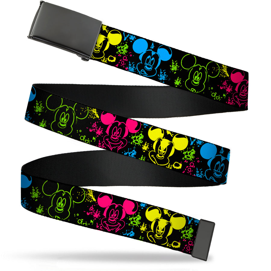 Black Buckle Web Belt - Mickey Expressions/Paint Splatter Black/Multi Neon Webbing