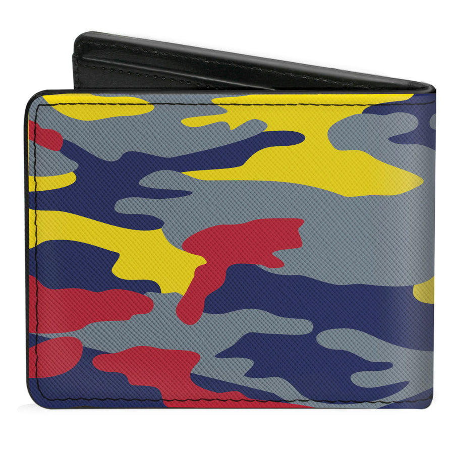 Bi-Fold Wallet - Superman THE ORIGINAL MAN OF STEEL Badge Camo Gray Red Yellow Blue